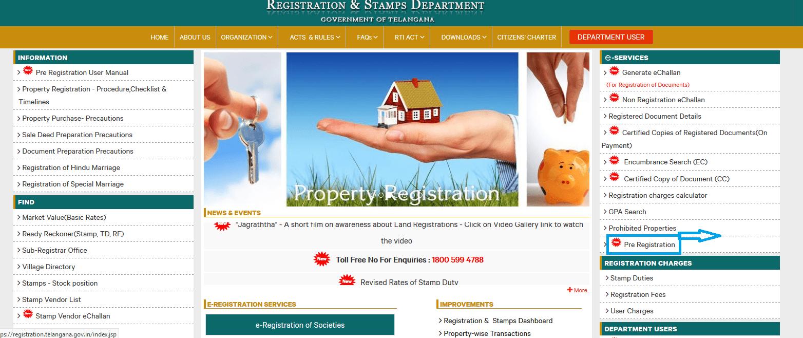 Pre Registration Details page